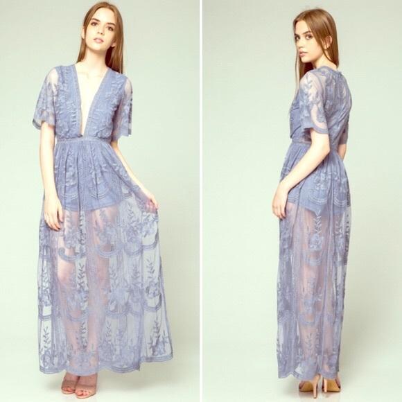 6faf8c3a0e Honey Punch Dresses   Skirts - Honey Punch Lace Maxi Romper